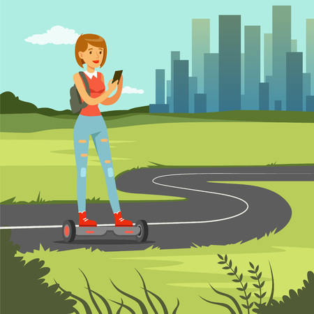 Girl with phone riding on gyroscope on city street, fashionable woman on self balancing modern electric scooter vector illustration, web banner Illustration