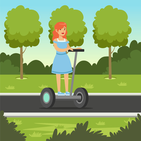 Young redhead woman riding on scooter in city park, electric two wheels vehicle vector illustration, web banner Illustration