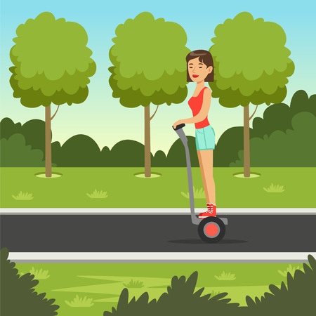 Young sportive girl on scooter in the park, sportswoman on self balancing modern electric scooter vector illustration, web banner
