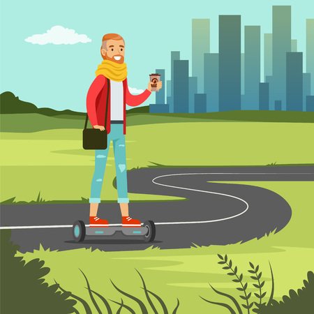 Young man with coffee riding on on gyroscope on city street, fashionable guy on self balancing modern electric scooter vector illustration, web banner Illustration