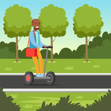 Young african man riding on hoverboard scooter in the park, electric two wheels vehicle vector illustration