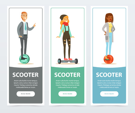 People riding on modern electric self balancing gyroscope, scooter banners set, intelligent and fashionable personal electric vehicle flat vector elements for website or mobile app with sample text Illustration