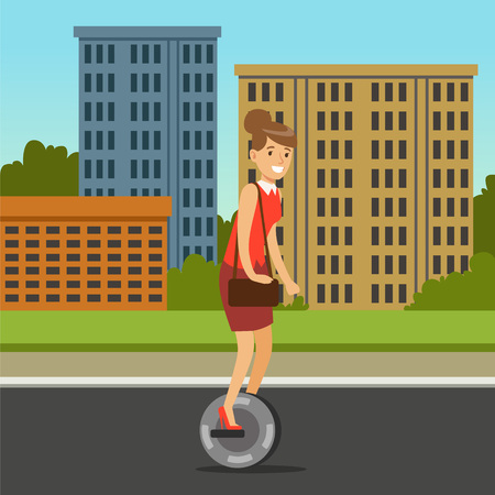 Businesswoman riding on one wheel electric scooter on city background, intelligent and fashionable personal electric vehicle vector illustration Illustration
