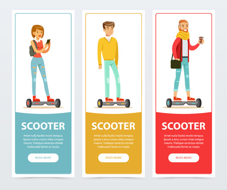 People riding on electric hoverboard, scooter banners set, intelligent and fashionable personal electric vehicle flat vector elements for website or mobile app