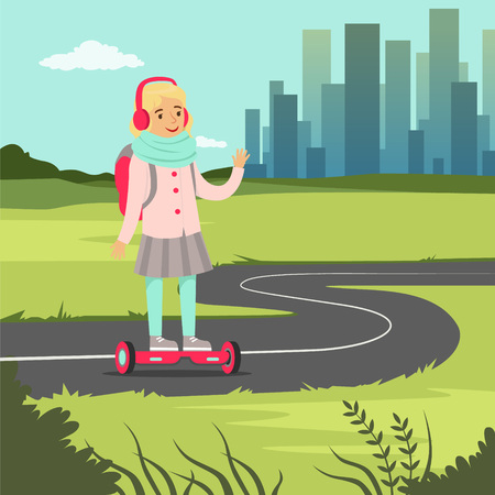 Smiling school girl riding on hoverboard on city background, balancing modern electric scooter vector illustration