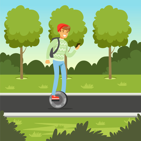 Young man riding on gyroscope in the park, man on self balancing modern electric scooter vector illustration