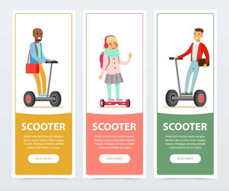 People riding on modern electric self balancing vehicle, scooter banners set, intelligent and fashionable personal electric vehicle flat vector elements for website or mobile app Illustration