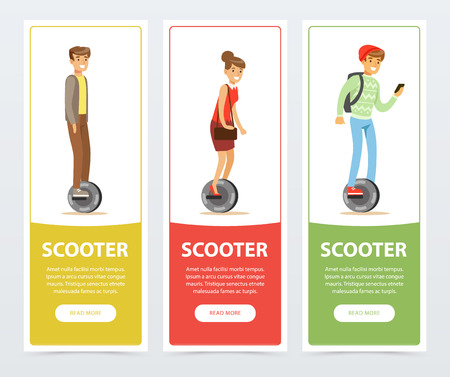 People riding on one wheel electric scooter banners set, intelligent and fashionable personal electric vehicle flat vector elements for website or mobile app Illustration