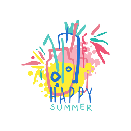 Happy summer template, label for summer holiday, restaurant, cafe, bar, menu, travel agency colorful hand drawn vector illustration Ilustracja