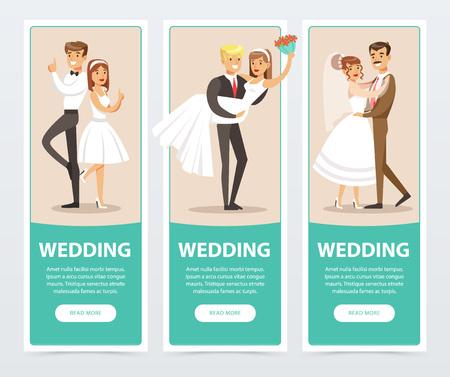 Bruiloft banners set, gelukkig net getrouwd paren platte vectorelementen voor website of mobiele app Stock Illustratie
