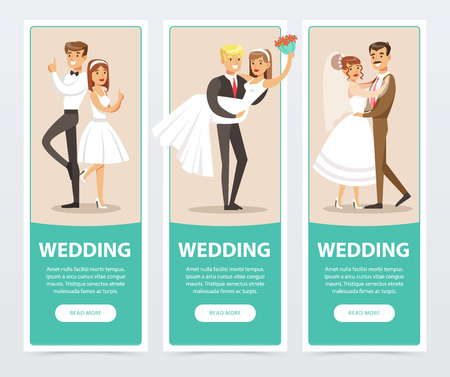 Wedding banners set, happy just married couples flat vector elements for website or mobile app