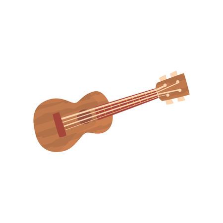 Ukulele Hawaiian guitar, national musical instrument cartoon vector illustration
