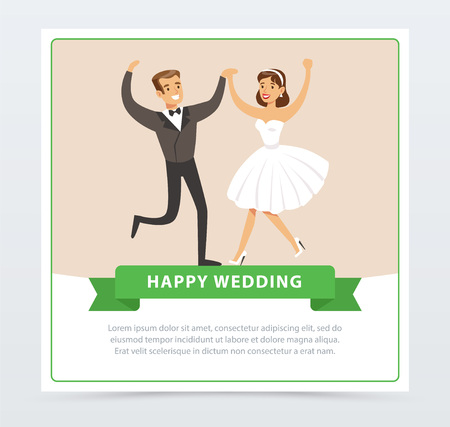 Sweet just married couple dancing, happy wedding banner flat vector element for website or mobile app