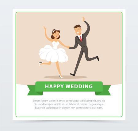 Bride in white wedding dress and groom in black suit dancing, happy wedding banner flat vector element for website or mobile app Illusztráció