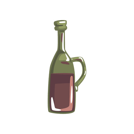 Vintage bottle of red wine cartoon vector illustration