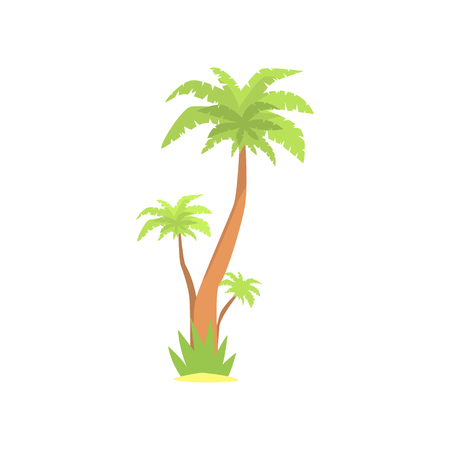 Green palm tree cartoon vector illustration Ilustração