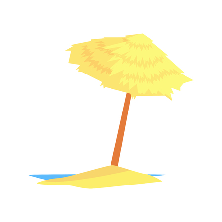 Beach straw umbrella cartoon vector illustration