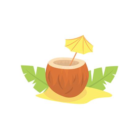 Exotic coconut cocktail cartoon vector illustration Illustration