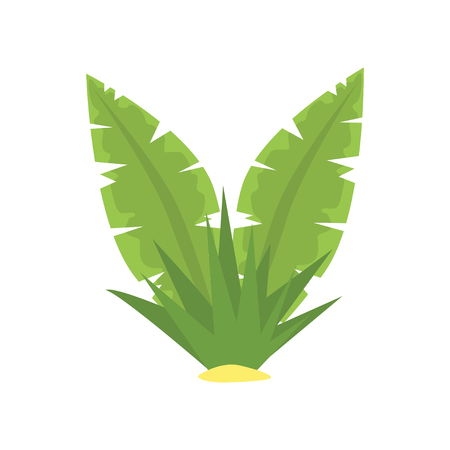 Fern green tropical leaves cartoon vector illustration