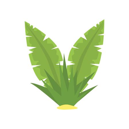 Fern green tropical leaves cartoon vector illustration