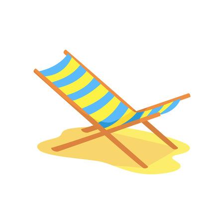 해변의 자 longue 만화 벡터 일러스트 레이션