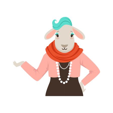 かわいいファッション羊の女の子キャラクター、流行に敏感な動物のフラット ベクトル図
