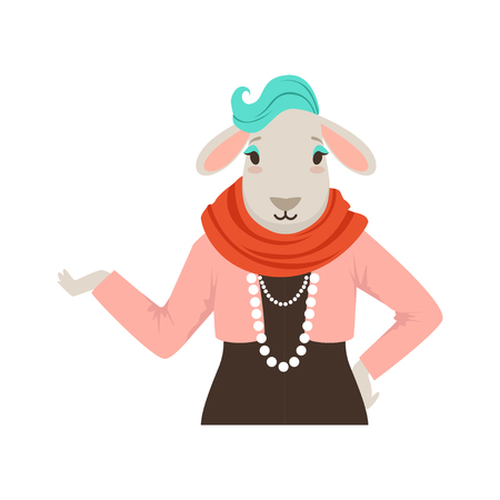 Cute fashion sheep girl character, hipster animal flat vector illustration 向量圖像