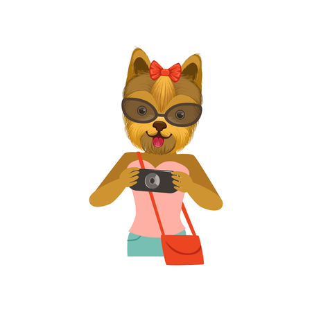 Yorkshire Terrier girl character dressed up in fashionable clothing with camera in its hands, fashion animal flat vector illustration Фото со стока - 89887987