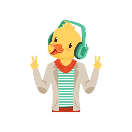 귀여운 패션 오리 병아리 녀석 문자 헤드폰, 힙 스터 버드 플랫 벡터 일러스트와 함께 듣는 음악 일러스트