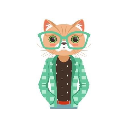 ターコイズ ブルーのメガネとジャケット、流行に敏感な動物のフラット ベクトル図でかわいいファッションの猫男文字  イラスト・ベクター素材