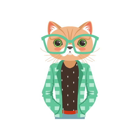 Cute fashion cat guy character in turquoise glasses and a jacket, hipster animal flat vector illustration Иллюстрация