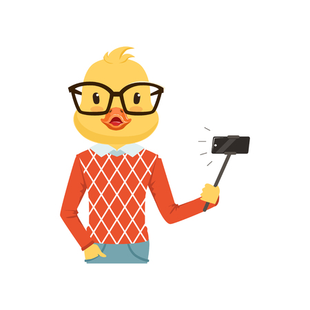 白地にかわいいファッション アヒルひよこ男キャラクター selfie 棒、流行に敏感な鳥フラット ベクトル図で selfie が分離されました。
