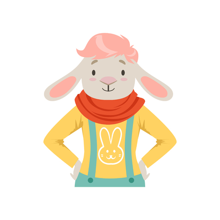 Cute fashion sheep guy character, hipster animal flat vector illustration isolated on a white background Illustration