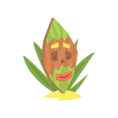 Hawaiian Tiki mask, tribal totem cartoon vector illustration isolated on a white background