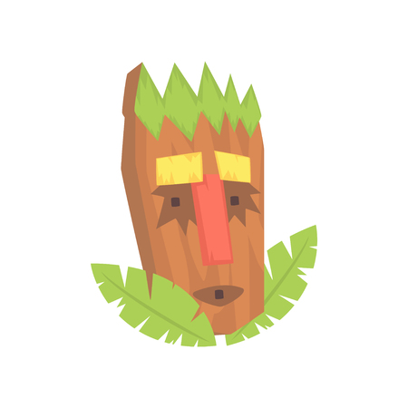 Tropical Tiki mask, tribal totem cartoon vector illustration