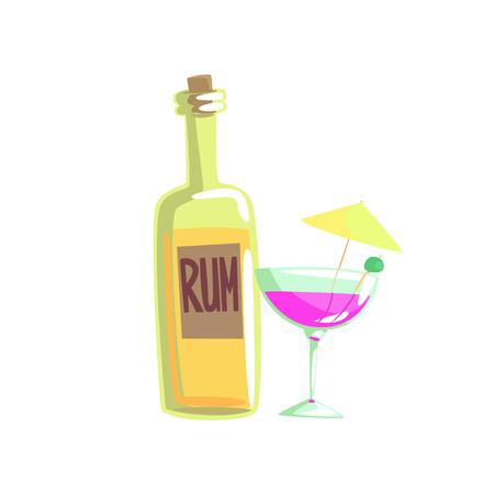 Rum bottle and cocktail glass with umbrella cartoon vector illustration Ilustracja