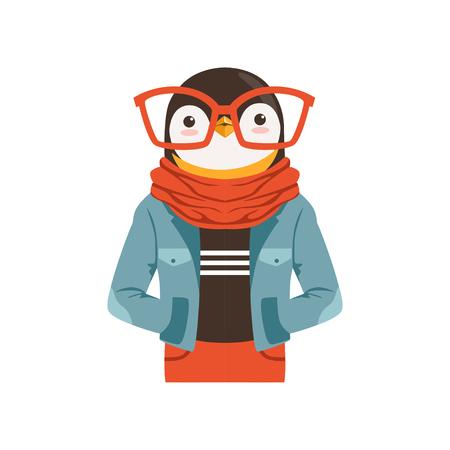 귀여운 패션 펭귄 남자 캐릭터, 힙 스터 동물 평면 벡터 일러스트 레이 션 흰색 배경에 고립