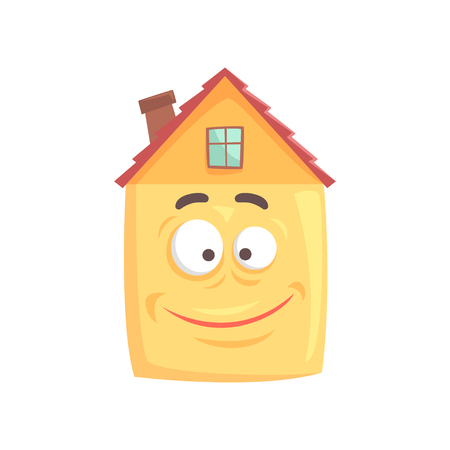 Cute house cartoon character with smiling happy face, funny  emoticon vector illustration isolated on a white background