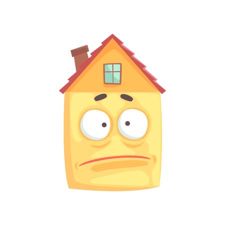 その顔に悲しい表情を持つかわいい家の漫画のキャラクター、白い背景に隔離された面白い絵文字ベクトルイラスト