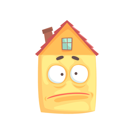 Cute house cartoon character with sad expression on its face, funny  emoticon vector illustration isolated on a white background
