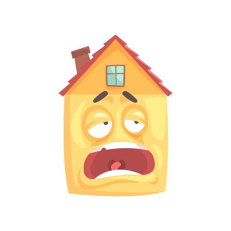 面白い疲れて眠そうな家の漫画のキャラクター、面白い表情絵文字ベクトル イラスト白背景に分離