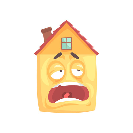 Funny tired sleepy house cartoon character, funny facial expression emoticon vector illustration isolated on a white background Ilustração