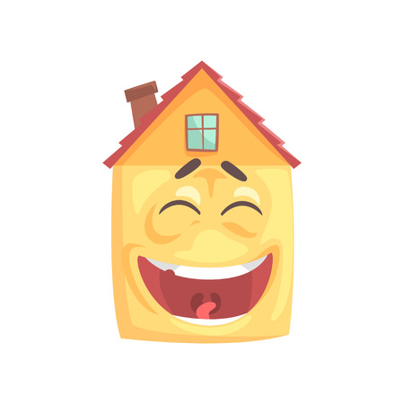 Cute house character laughing, funny facial expression emoticon cartoon vector illustration isolated on a white background