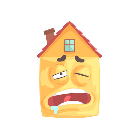 Cute house cartoon character sleeping, funny facial expression emoticon vector illustration isolated on a white background Çizim