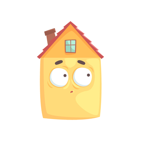 Cute house cartoon character with confused expression on its face, funny emoticon vector illustration isolated on a white background