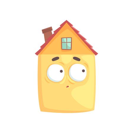 Het leuke karakter van het huisbeeldverhaal met verwarde uitdrukking op zijn gezicht, grappige emoticon vectordieillustratie op een witte achtergrond wordt geïsoleerd Stock Illustratie