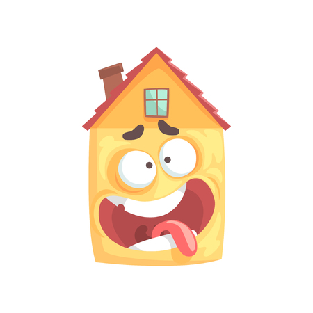 Cute dizzy house cartoon character, funny facial expression emoticon vector illustration isolated on a white background