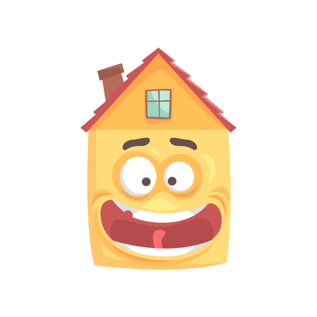 Cute smiling house cartoon character, funny facial expression emoticon vector illustration isolated on a white background