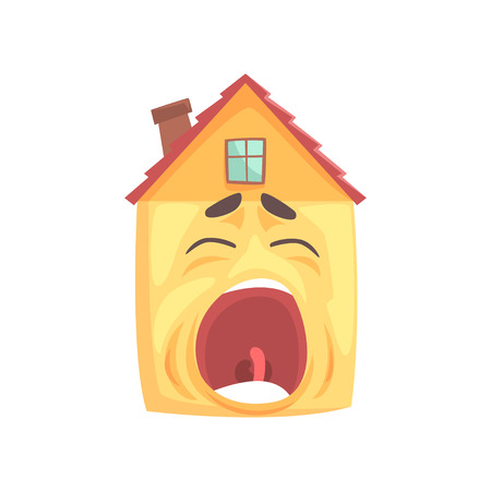 Funny sleepy house character yawning, funny facial expression emoticon cartoon vector illustration isolated on a white background Illustration