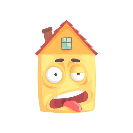 かわいい家の重点を置かれた漫画のキャラクター、白い背景で隔離面白い表情絵文字ベクトル図